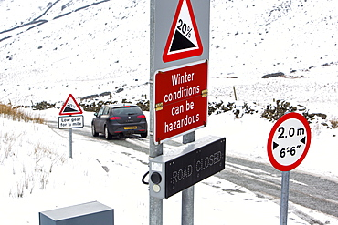 A warning sign at the top of the Struggle, on Kirkstone Pass, Lake District, Cumbria, England, United Kingdom, Europe