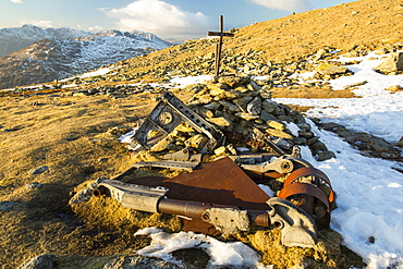 Remains of a Second World War Canadian Halifax Bomber, which crashed in October 1944 on Great Carrs, Lake District, Cumbria, England, United Kingdom, Europe
