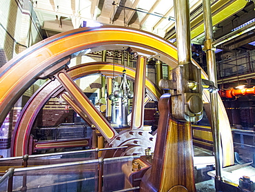 The original steam engine pump in the Abbey Pumping Station, an old sewage pumping station museum in Leicester, England, United Kingdom, Europe