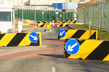 Anti-terrorist road barriers to prevent a vehicle attack, Sellafield nuclear power station near Seascale in West Cumbria, England, United Kingdom, Europe