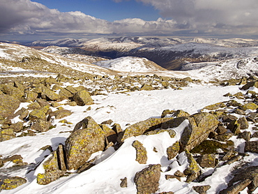 The view towards the Helvellyn Range over Glaramara from Great End, Lake District, Cumbria, England, United Kingdom, Europe