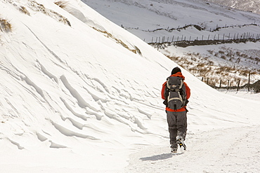 A walker passes massive snow drifts blocking the Kirkstone Pass road above Ambleside in the Lake District, Cumbria, England, United Kingdom, Europe