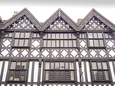 An ancient shop, one of many ancient buildings in Ludlow, which is noted for the preservation of its ancient buildings, Shropshire, England, United Kingdom, Europe