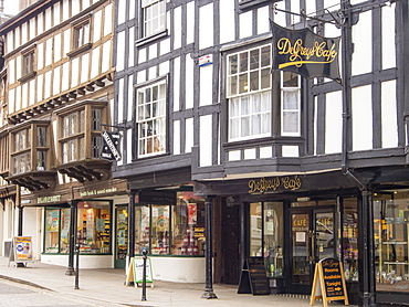 Ancient 17th century shops in the centre of Ludlow, Shropshire, England, United Kingdom, Europe