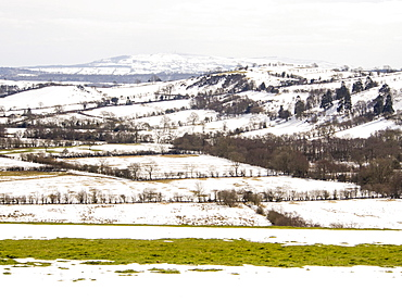 Looking towards Wenlock Edge from Hope Bowdler Hill above Church Stretton in Shropshire, England, United Kingdom, Europe