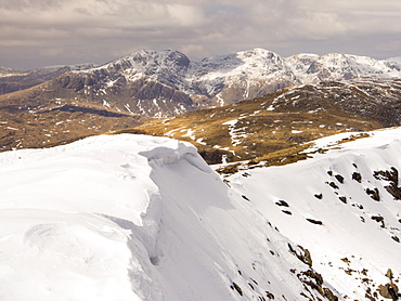 The Scafell range from Consiton Old Man, Lake District, Cumbria, England, United Kingdom, Europe