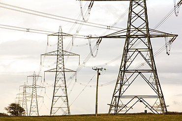 Electricity pylons leaving Wylfa nuclear power station on Anglesey, Wales, United Kingdom, Europe