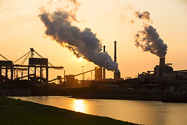 Emissions from a Tata Steel works in Ijmuiden, Netherlands, Europe