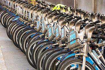 Barclays bike hire scheme bikes in London, England, United Kingdom, Europe