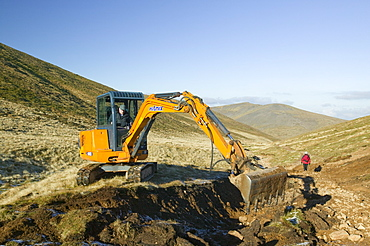 Repairing eroded footpaths in the Lake District, Cumbria, England, United Kingdom, Europe