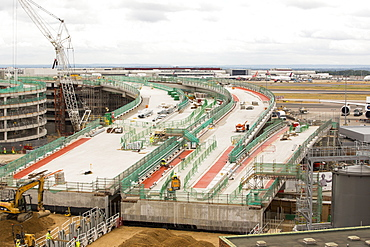Expansion work on terminal two at Heathrow Airport, London, UK.
