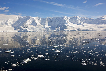 The Gerlache Strait separating the Palmer Archipelago from the Antarctic Peninsular off Anvers Island. The Antartic Peninsular is one of the fastest warming areas of the planet.
