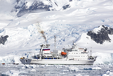 Emissions from the Akademik Sergey Vavilov, an ice strengthened ship on an expedition cruise to Antarctica, in Paradise Bay in the Antarctic Peninsular, which is one of the fastest warming places on the planet.