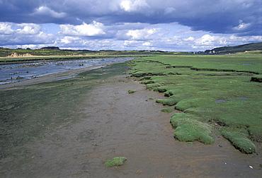 River Ogmore and saltmarsh, Wales, UK