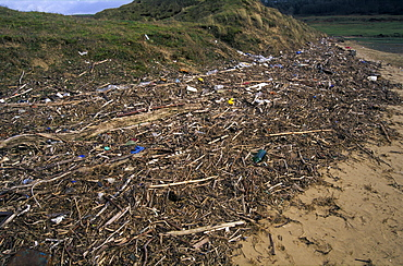 Strandline pollution, River Ogmore, Vale of Glamorgan, Wales, UK