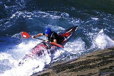 Rock-hopping, Kayaking, St Non's Bay, St Davids, Pembrokeshire, Wales, UK, Europe