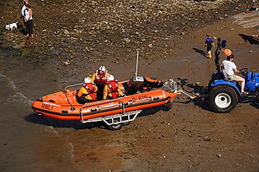 RNLI inshore rescue boat demonstration rescue, Little Haven Summer Regatta, Pembrokeshire, Wales, UK, Europe