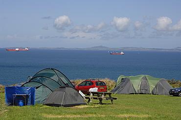 Tents on coastal campsite, West Hook Farm, Marloes, Pembrokeshire, Wales, UK, Europe
