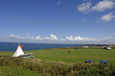 Teepee or wigwam tent, coastal campsite, West Hook Farm, Marloes, Pembrokeshire, Wales, UK, Europe