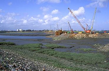 Construction on mudflats, Cardiff Bay, Wales, UK
