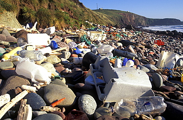 Strandline plastic litter, Freshwater West, Pembrokeshire Coast National Park