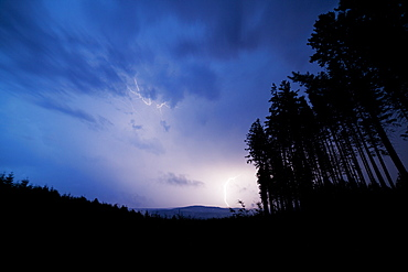 Thunderstorm, lightning, White Carpathians, Czech Republic, Europe