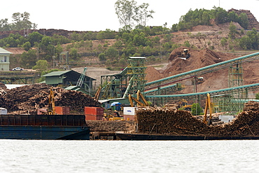 Sawmill in Balikpapan Bay, East Kalimantan, Borneo, Indonesia, Southeast Asia, Asia