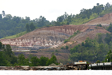Constructions and soil erosion. Balikpapan Bay, East Kalimantan, Borneo, Indonesia, Southeast Asia, Asia