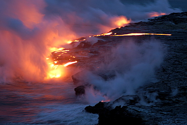 Lava flowing into the Pacific Ocean, Volcanoes National Park, UNESCO World Heritage Site, Big Island, Hawaii, United States of America, Pacific