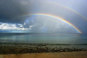 Double rainbow and rainstorm, Namu atoll, Marshall Islands, Pacific