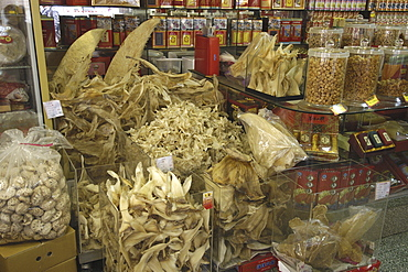 Dried shark fins for sale in traditional Chinese medicine store, Taipei, Taiwan, Asia