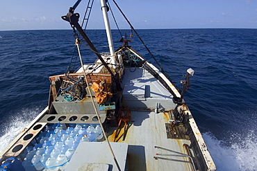 Deck of commercial fishing vessel, Equatorial Atlantic Ocean, Brazil, South America