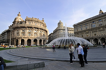 Fountain of Piazza di Ferrari and downtown historical buildings, Genova, Liguria, Italy, Europe