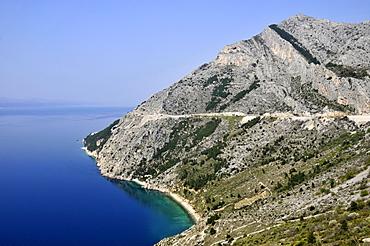 Dalmatian shoreline and Adriatic Sea south of Omis, Croatia, Europe