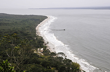 View of the channel between Mel Island and the mainland from Fortress Hill (Fortaleza de Nossa Senhora dos Prazeres), Mel Island, Paranagua, Parana, Brazil, South Atlantic, South America