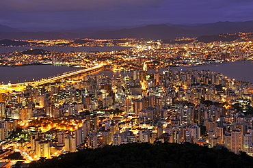 Connection between Florianopolis Island and mainland, night view, Santa Catarina, Brazil, South America