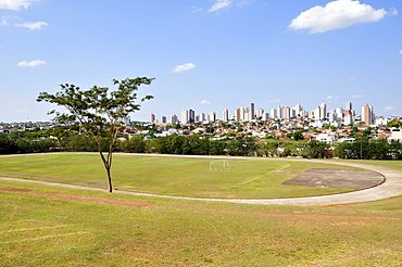 Soccer field and city of Presidente Prudente, Sao Paulo, Brazil, South America