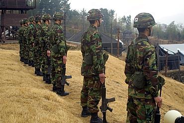 Korean soldiers at the Prisoner of War Camp museum, Geoje-do Park, South Korea, Asia