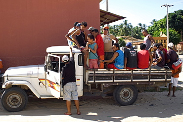 Truck used as public transportation, Tutoia, Maranhao, Brazil, South America