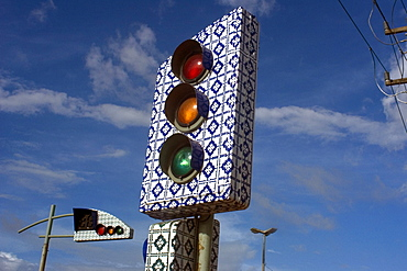 Traffic light made in the traditional Portuguese blue tiles style from the 17th century, Sao Luis, Maranhao, Brazil, South America
