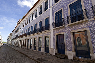 Old colonial building with typical Portuguese blue tiles at historical center in Sao Luis, UNESCO World Heritage Site, Maranhao, Brazil, South America