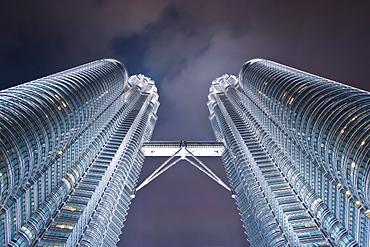 Petronas Towers at night.  Kuala Lumpur, Selangor, Malaysia, Asia