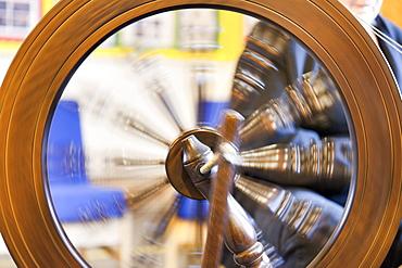 Traditional spinning wheel. Foula Island, Shetland Islands, Scotland, United Kingdom, Europe