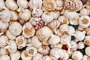 Garlic for sale at the Sunday morning market, Pollenca, Tramuntana, Mallorca, Balearic Islands, Spain, Europe