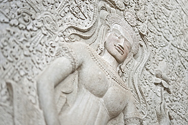 Stone relief carving, Angkor Wat, UNESCO World Heritage Site, Siem Reap, Cambodia, Indochina, Southeast Asia, Asia