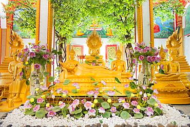 Reclining Buddha and other statues, Karon Beach, Buddhist Temple, Phuket Island, Phuket, Thailand, Southeast Asia, Asia