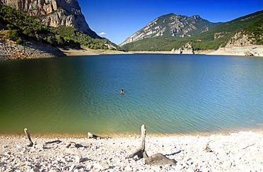 reservoir, dam, mountains, alps, swimming, limestone, Andora