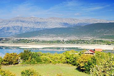 reservoir, dam, mountains, alps, swimming, limestone. Serj, Croatia