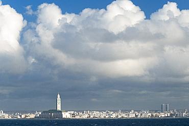 Hassan II Mosque (worlds 2nd largest). Casablanca, Atlantic Ocean, Morocco