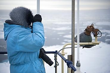 Boat, tourists, arctic cruise, ice breaker, scouting. Longyearbyen, Svalbard, Norway